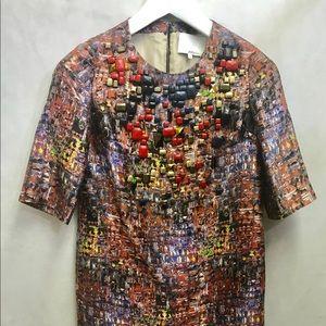 Phillip Lim silk coat dress, embellished neckline